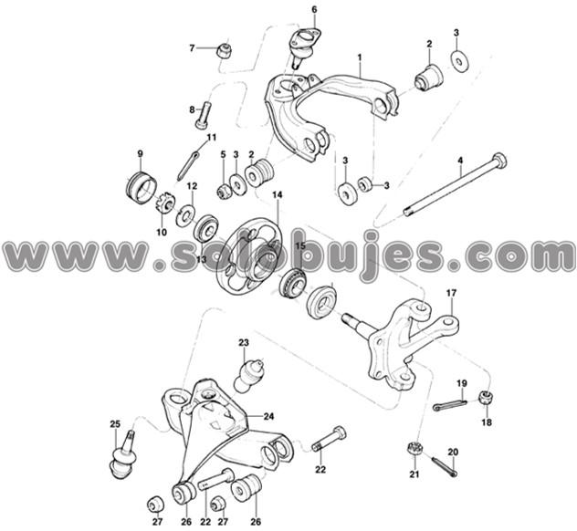 Buje tijera superior metal Chevette 1981 catalogo