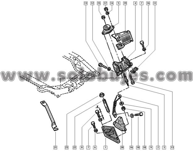 Soporte motor izquierdo Megane 2005 catalogo